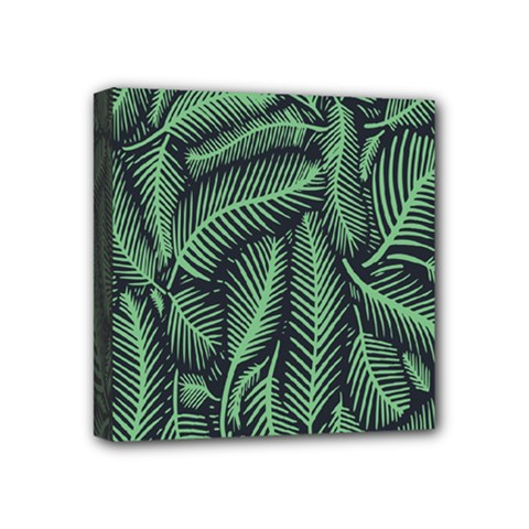 Coconut Leaves Summer Green Mini Canvas 4  X 4
