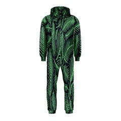 Coconut Leaves Summer Green Hooded Jumpsuit (kids)