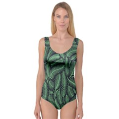Coconut Leaves Summer Green Princess Tank Leotard