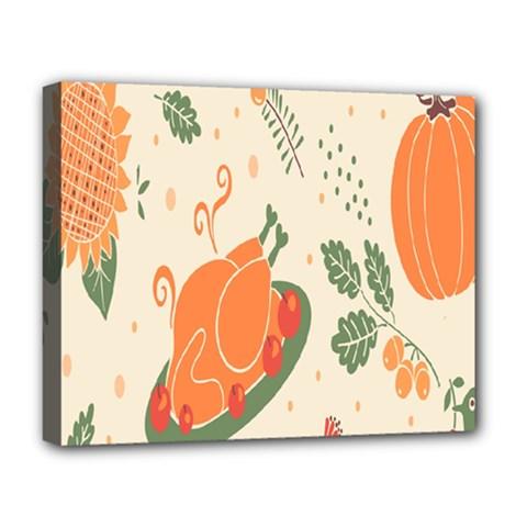 Happy Thanksgiving Chicken Bird Flower Floral Pumpkin Sunflower Deluxe Canvas 20  X 16