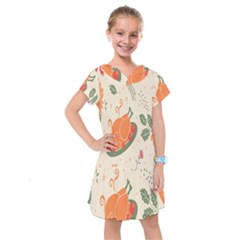 Happy Thanksgiving Chicken Bird Flower Floral Pumpkin Sunflower Kids  Drop Waist Dress