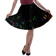 Colorful Music Notes Rainbow A Line Skater Skirt