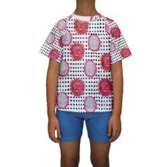 Fruit Patterns Bouffants Broken Hearts Dragon Polka Dots Red Black Kids  Short Sleeve Swimwear