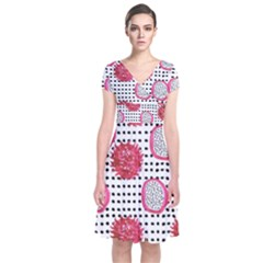 Fruit Patterns Bouffants Broken Hearts Dragon Polka Dots Red Black Short Sleeve Front Wrap Dress
