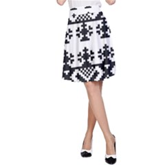 Model Traditional Draperie Line Black White Triangle A Line Skirt