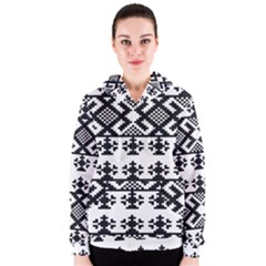 Model Traditional Draperie Line Black White Triangle Women s Zipper Hoodie