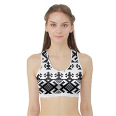 Model Traditional Draperie Line Black White Triangle Sports Bra With Border