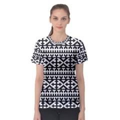 Model Traditional Draperie Line Black White Women s Sport Mesh Tee