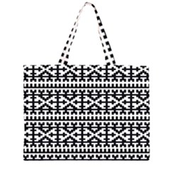 Model Traditional Draperie Line Black White Zipper Large Tote Bag