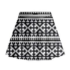 Model Traditional Draperie Line Black White Mini Flare Skirt