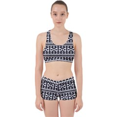 Model Traditional Draperie Line Black White Work It Out Sports Bra Set