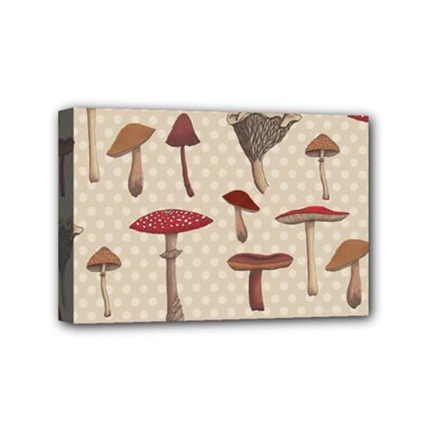 Mushroom Madness Red Grey Brown Polka Dots Mini Canvas 6  X 4