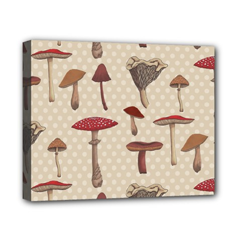 Mushroom Madness Red Grey Brown Polka Dots Canvas 10  X 8