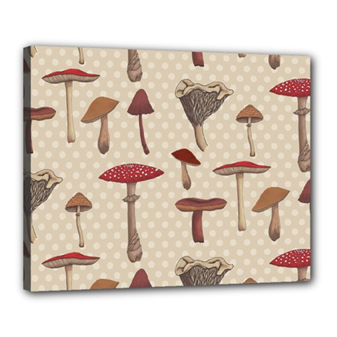 Mushroom Madness Red Grey Brown Polka Dots Canvas 20  X 16