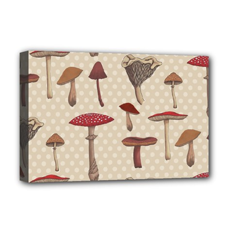 Mushroom Madness Red Grey Brown Polka Dots Deluxe Canvas 18  X 12