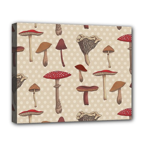 Mushroom Madness Red Grey Brown Polka Dots Deluxe Canvas 20  X 16