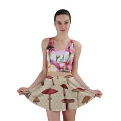Mushroom Madness Red Grey Brown Polka Dots Mini Skirt