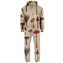 Mushroom Madness Red Grey Brown Polka Dots Hooded Jumpsuit (men)