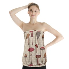 Mushroom Madness Red Grey Brown Polka Dots Strapless Top