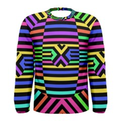 Optical Illusion Line Wave Chevron Rainbow Colorfull Men s Long Sleeve Tee