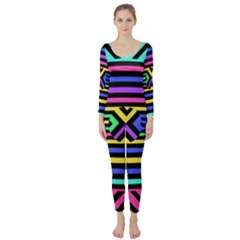 Optical Illusion Line Wave Chevron Rainbow Colorfull Long Sleeve Catsuit