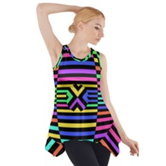 Optical Illusion Line Wave Chevron Rainbow Colorfull Side Drop Tank Tunic