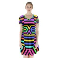 Optical Illusion Line Wave Chevron Rainbow Colorfull Short Sleeve V Neck Flare Dress