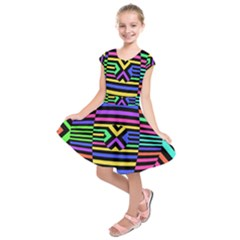 Optical Illusion Line Wave Chevron Rainbow Colorfull Kids  Short Sleeve Dress