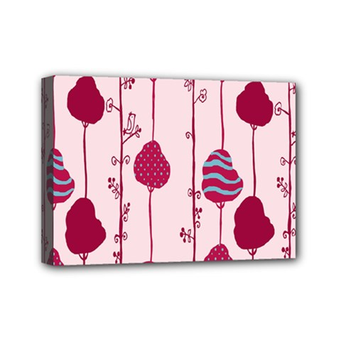 Original Tree Bird Leaf Flower Floral Pink Wave Chevron Blue Polka Dots Mini Canvas 7  X 5
