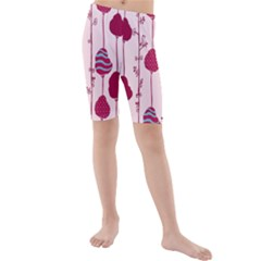 Original Tree Bird Leaf Flower Floral Pink Wave Chevron Blue Polka Dots Kids  Mid Length Swim Shorts