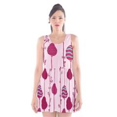 Original Tree Bird Leaf Flower Floral Pink Wave Chevron Blue Polka Dots Scoop Neck Skater Dress
