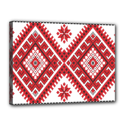 Model Traditional Draperie Line Red White Triangle Canvas 16  X 12