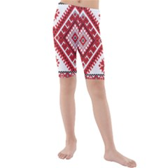 Model Traditional Draperie Line Red White Triangle Kids  Mid Length Swim Shorts