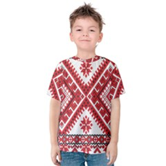 Model Traditional Draperie Line Red White Triangle Kids  Cotton Tee