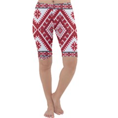 Model Traditional Draperie Line Red White Triangle Cropped Leggings
