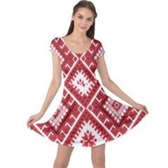 Model Traditional Draperie Line Red White Triangle Cap Sleeve Dress