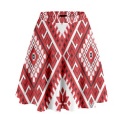 Model Traditional Draperie Line Red White Triangle High Waist Skirt