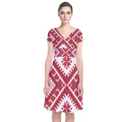 Model Traditional Draperie Line Red White Triangle Short Sleeve Front Wrap Dress