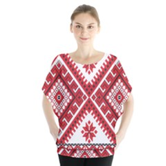 Model Traditional Draperie Line Red White Triangle Blouse