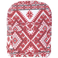 Model Traditional Draperie Line Red White Triangle Full Print Backpack