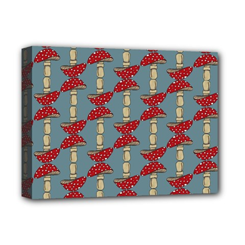 Mushroom Madness Red Grey Polka Dots Deluxe Canvas 16  X 12