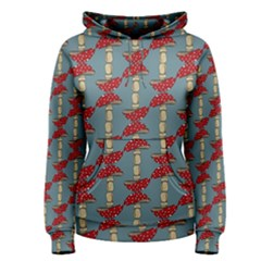 Mushroom Madness Red Grey Polka Dots Women s Pullover Hoodie