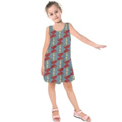 Mushroom Madness Red Grey Polka Dots Kids  Sleeveless Dress