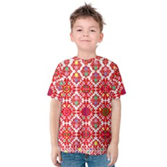 Plaid Red Star Flower Floral Fabric Kids  Cotton Tee