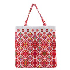 Plaid Red Star Flower Floral Fabric Grocery Tote Bag
