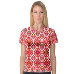 Plaid Red Star Flower Floral Fabric V Neck Sport Mesh Tee