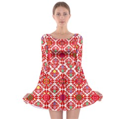 Plaid Red Star Flower Floral Fabric Long Sleeve Skater Dress