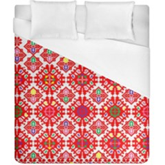 Plaid Red Star Flower Floral Fabric Duvet Cover (california King Size)