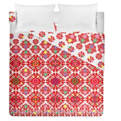 Plaid Red Star Flower Floral Fabric Duvet Cover Double Side (queen Size)