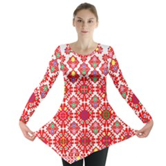 Plaid Red Star Flower Floral Fabric Long Sleeve Tunic